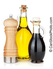Olive oil and vinegar bottles with pepper shaker. Isolated ...