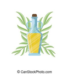 Olive oil bottle and olive branch icon. Vector illustration for design, web and decor