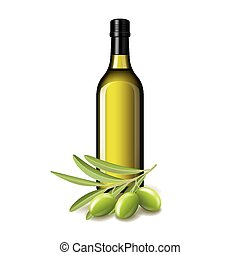 Olive oil bottle and olives isolated on white vector illustration
