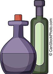 Olive oil bottle icon, cartoon style