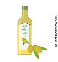 Olive oil, bottle of natural oil, branch with olives. Vector
