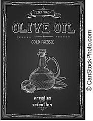 Olive oil bottle on blackboard. Hand drawn engraved style label Design for olive oil packaging sketch Vector vintage illustration