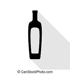 Olive oil bottle sign. Black icon with flat style shadow path.