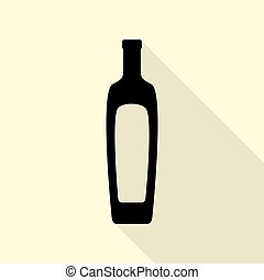 Olive oil bottle sign. Black icon with flat style shadow path on cream background.