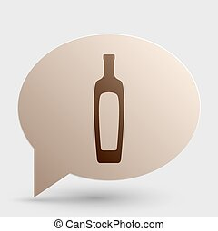 Olive oil bottle sign. Brown gradient icon on bubble with shadow.