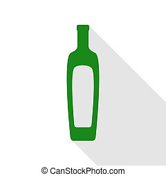 Olive oil bottle sign. Green icon with flat style shadow path.