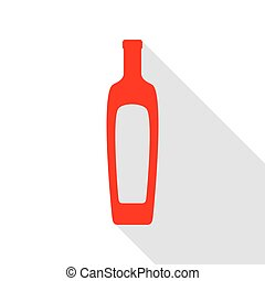Olive oil bottle sign. Red icon with flat style shadow path.