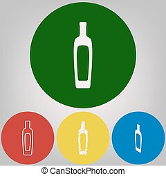 Olive oil bottle sign. Vector. 4 white styles of icon at 4 colored circles on light gray background.