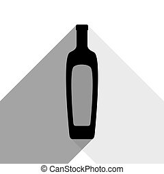 Olive oil bottle sign. Vector. Black icon with two flat gray shadows on white background.