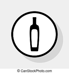 Olive oil bottle sign. Vector. Flat black icon in white circle with shadow at gray background.