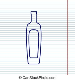 Olive oil bottle sign. Vector. Navy line icon on notebook paper as background with red line for field.