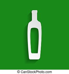 Olive oil bottle sign. Vector. Paper whitish icon with soft shadow on green background.