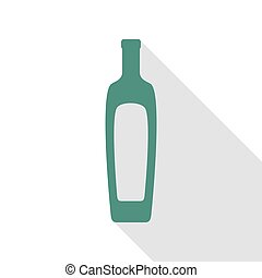 Olive oil bottle sign. Veridian icon with flat style shadow path.