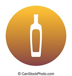 Olive oil bottle sign. White icon in circle with golden gradient
