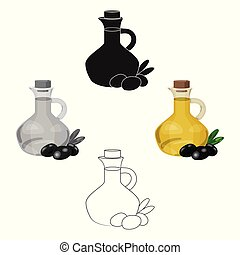 Olive oil bottle with cartoon, black olives icon in cartoon, black style isolated on white background. Greece symbol stock vector illustration.