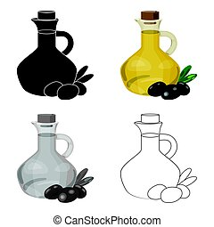 Olive oil bottle with cartoon olives icon in cartoon style isolated on white background. Greece symbol stock vector illustration.