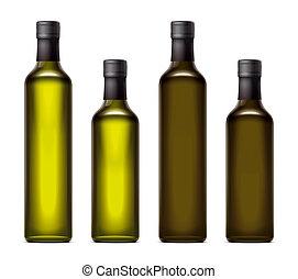 Olive oil bottles mockups illustration