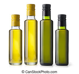 Set bottles of virgin olive oil on a white ground