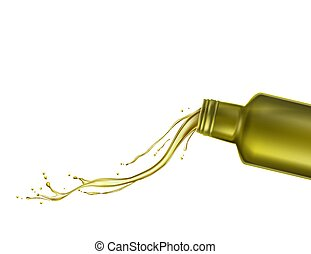 Olive oil comes out of the bottle. Vector illustration