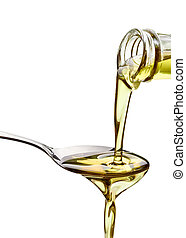 olive oil condiment vegeterian food - close up of olive oil ...
