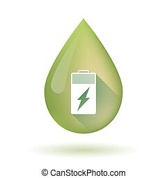 Olive oil drop icon with a battery