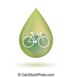Olive oil drop icon with a bicycle