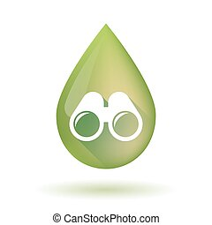 Olive oil drop icon with a binoculars