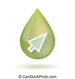 Olive oil drop icon with a cursor