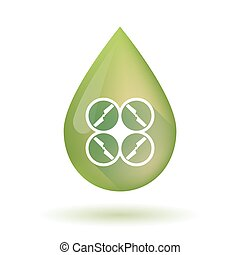 Olive oil drop icon with a drone