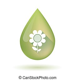 Olive oil drop icon with a flower