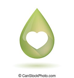 Olive oil drop icon with a heart