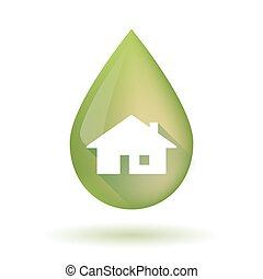 Olive oil drop icon with a house