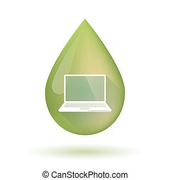 Olive oil drop icon with a laptop