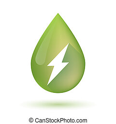Olive oil drop icon with a lightning