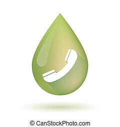 Olive oil drop icon with a phone