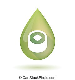 Olive oil drop icon with a piece of sushi