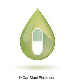 Olive oil drop icon with a pill