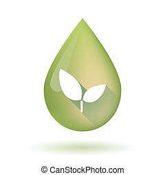Olive oil drop icon with a plant