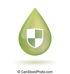 Olive oil drop icon with a shield