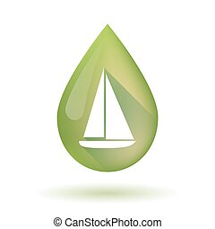 Olive oil drop icon with a ship