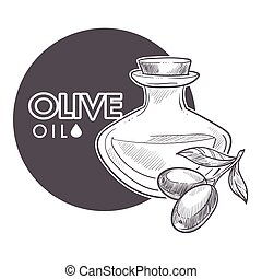 Olive oil extra virgin, monochrome sketch outline poster vector.