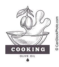 Olive oil extra virgin, monochrome sketch outline poster vector.