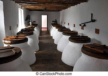 Olive oil fermentation jar - Image of some olive oil...