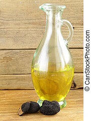 oil flavored with black truffle - Olive oil flavored with...