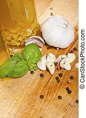 Olive oil, garlic