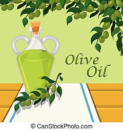 Olive oil, glass bottle of vegetable oil on the background of olive branches vector Illustration design element for banner, poster