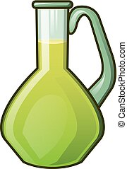 Olive oil glass jar icon, cartoon style