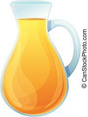 Olive oil glass jug icon, cartoon style