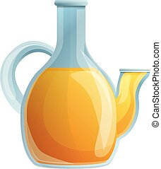 Olive oil glass pot icon, cartoon style
