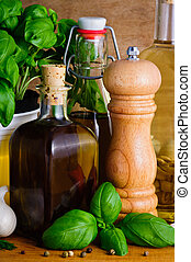 olive oil, herbs and spices - background with olive oil,...